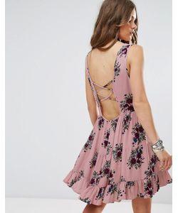 Glamorous | Свободное Платье С Цветочным Принтом И Завязкой На Спине