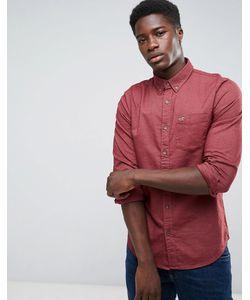 Hollister | Бордовая Оксфордская Рубашка Узкого Кроя