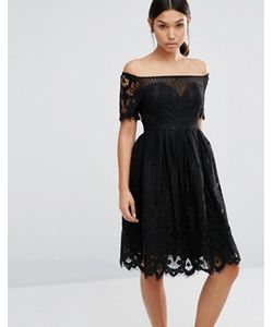 boohoo   Короткое Приталенное Платье Из Кружева С Широким Вырезом
