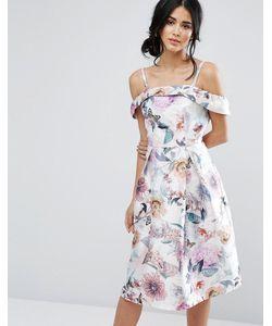Chi Chi London | Платье Миди Из Сатина С Открытыми Плечами И Цветочным Принтом Chi