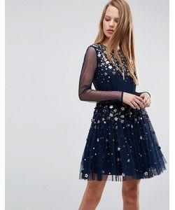 Asos   Декорированное Платье Мини Из Тюля С Цветами