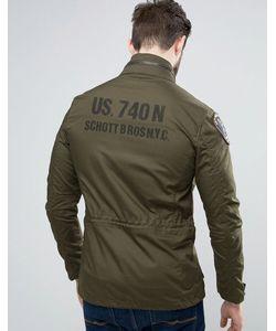 Schott | Зеленая Куртка С Принтом На Спине И Нашивками Sheffield M65