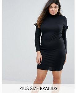 Missguided Plus | Облегающее Платье В Рубчик С Оборкой На Рукавах