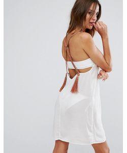 Asos | Свободное Пляжное Платье С Неоновой Плетеной Отделкой И Кисточками
