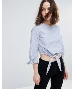 Influence   Tie Front And Sleeve Cotton Top