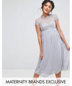 Little Mistress Maternity   Приталенное Платье С Кружевным Лифом