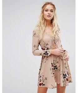 boohoo | Короткое Приталенное Платье С Цветочным Принтом И Завязкой