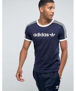 adidas Originals | Темно-Синяя Футболка Adicolor Linear Bq7559