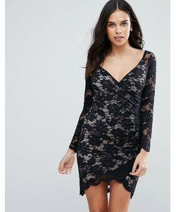 Jessica Wright | Кружевное Платье С Длинными Рукавами И Асимметричным Краем