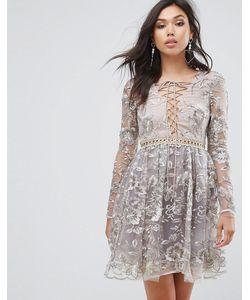 True Decadence | Короткое Приталенное Платье С Вышивкой И Шнуровкой