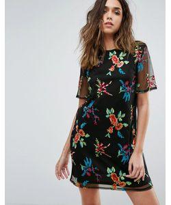 boohoo | Сетчатое Платье А-Силуэта С Вышивкой