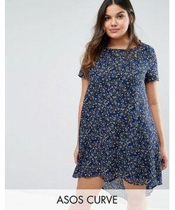 Koko | Платье-Трапеция С Цветочным Принтом И Удлиненным Краем Сзади Plus