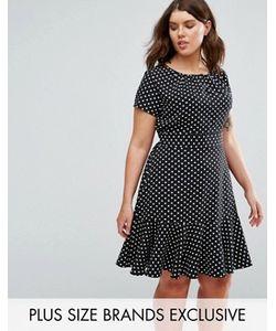 Closet Plus | Платье В Горошек С Оборкой По Нижнему Краю