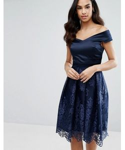 Vesper | Платье Миди С Кружевной Юбкой И Открытыми Плечами