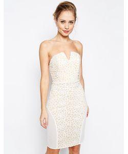 JARLO | Платье-Бандо С Отделкой Цветочным Кружевом И Сетчатыми Вставками