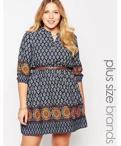 Yumi Plus | Платье Размера Плюс С Ремнем И Плиточным Принтом Yumi