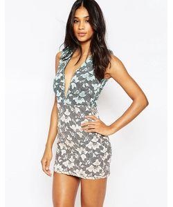Rare | Платье Из Двухцветного Кружева С Глубоким Декольте