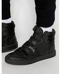 Dark Future | Высокие Черные Кроссовки С Ремешками И Пряжками