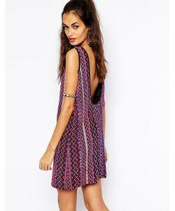 Mochi | Цельнокройное Платье С Гобеленовыми Полосками Фиолетовый