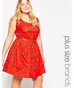 Yumi Plus | Приталенное Платье Размера Плюс С Принтом Собачек Yumi