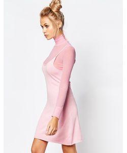 Unif | Сетчатое Платье Мини С Высоким Воротом И Длинными Рукавами Ness