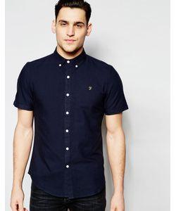 Farah | Оксфордская Рубашка Узкого Кроя С Короткими Рукавами Темно-Синий