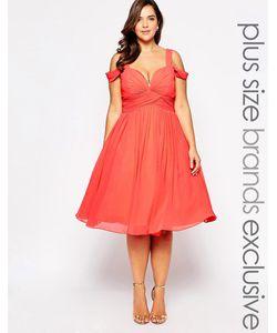 Forever Unique Plus | Платье Миди С Вырезом Сердечком И Открытыми Плечами Forever Unique Plu