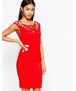 Lipsy   Платье-Футляр С Аппликацией Из Вощеного Кружева Красный