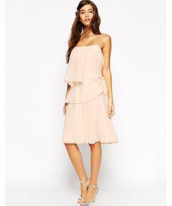 Asos | Платье С Оборками И Пояском На Боку Wedding Кремовый