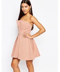 AQ AQ | Платье-Бандо Мини Для Выпускного Aqaq Athena Розовато-Персиковый