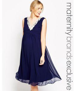 Little Mistress Maternity   Расклешенное Платье Миди Для Беременных С Цветочной Отделкой По Вороту