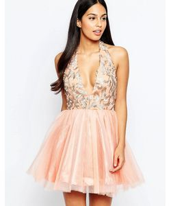 Rare Opulence   Платье Из Органзы С Глубоким Вырезом Розовый