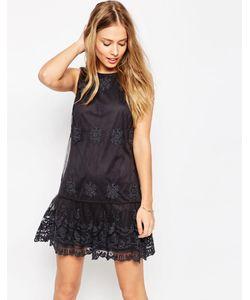Asos   Сетчатое Платье С Вышивкой Серый