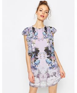 Asos | Цельнокройное Платье Мини С Оборками И Цветочным Принтом Мульти