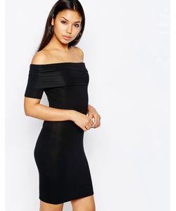 Asos | Облегающее Платье Мини С Открытыми Плечами Черный