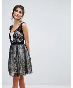 Little Mistress | Черно-Белое Платье Мини Для Выпускного С Кружевной Накладкой