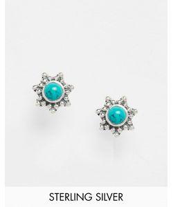 Reclaimed | Серебряные Серьги-Гвоздики С Камнем Vintage