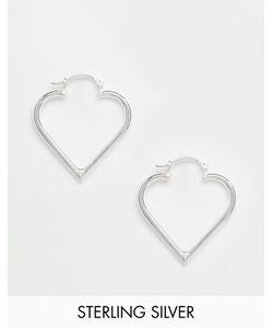 Reclaimed | Серьги-Кольца В Виде Сердец Из Чистого Серебра Vintage