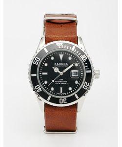 Kahuna | Часы С Черным Циферблатом И Коричневым Кожаным Ремешком Коричневый
