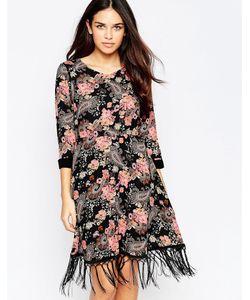 Style London | Платье С Бахромой По Краю Festival Черный