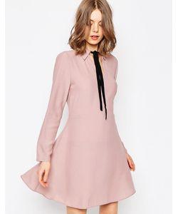 Asos | Платье-Рубашка С Контрастным Галстуком Сиреневый