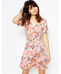 Asos | Короткое Приталенное Платье С Оборками И Цветочным Принтом Мульти