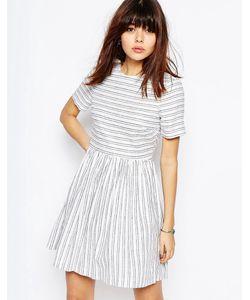 Asos | Короткое Приталенное Платье В Полоску Из Натуральных Волокон Мульти