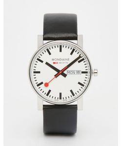 Mondaine | Часы С Датой И Черным Кожаным Ремешком 38 Мм