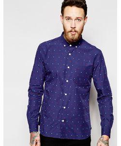 YMC   Рубашка В Мелкий Разноцветный Горошек Темно-Синий