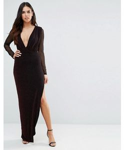 Hedonia   Платье Макси С V-Образным Вырезом И Прозрачными Рукавами