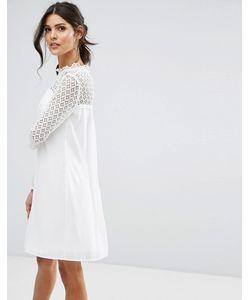 Elise Ryan | Свободное Платье С Высоким Воротом И Кружевной Отделкой