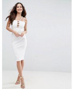 Asos | Облегающее Платье Миди С Золотистой Металлической Отделкой