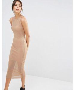 MISSGUIDED | Сетчатое Двухслойное Платье Миди