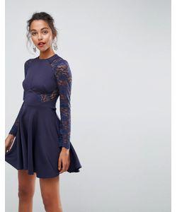 Asos   Короткое Приталенное Платье С Кружевными Рукавами Premium